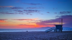 Sunset ocean in Venice Beach. Los Angeles, California. 4K Timelapse. Stock Footage