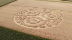 Aerial shots of the crop circle at earth station Raisting / Ammersee / Germany Stock Footage