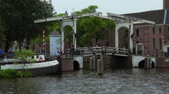 Small bridge at Amstel River Stock Footage