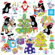 Set with cartoon mole prepare the house for christmas Stock Illustration