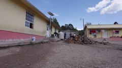 Copper Canyon small village, panning Stock Footage