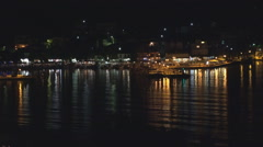 Lefkada Harbor in Greece, Ships View by Night, Yachts and Boats in Seaport Stock Footage