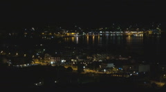 Lefkada Seaport in Greece, Ships View by Night, Yachts and Boats in Harbor Stock Footage