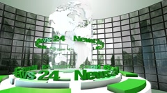 "3D Computer generated globe animation for a ""news"" background. green - stock footage"