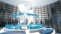 "3D Computer generated globe animation for a ""news"" background. blue - stock footage"