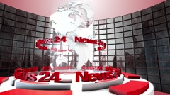 "3D Computer generated globe animation for a ""news"" background. red - stock footage"