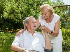 elderly couple enjoying life together - stock photo