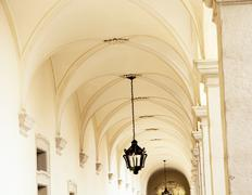 vaulted ceiling with ornate iron lamp - stock photo