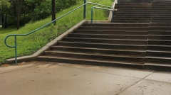 Wheelchair meets stairs Stock Footage