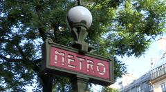 Paris Metro Sign Stock Footage