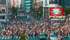 Stock Video Footage of Pedestrians crossing one of the busiest crosswalks