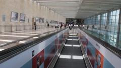 Horizontal escalator at Ben Gurion Airport. Tel Aviv. Israel Stock Footage