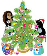 mole and hedgehog decorating a christmas tree - stock illustration