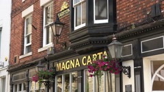 Zoom into magna carta pub sign, lincoln, england Stock Footage