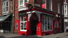 Typical english corner post office in lincoln, england Stock Footage