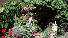 Idyllic secret garden, cozy little restaurant, Mediterranean style, vine,flowers Stock Footage