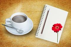 Coffee and Note Book Diary Stock Photos