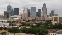 Dallas Skyline in cloudy conditions looking north at the city. Stock Footage
