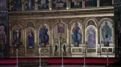 Shrine, sanctuary, gilt carved wood, paintings, orthodox church, interior Stock Footage