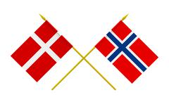 flags, denmark and norway - stock illustration