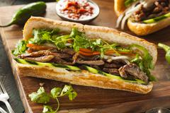 vietnamese pork banh mi sandwich - stock photo