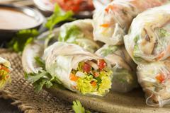 healthy vegetarian spring rolls - stock photo