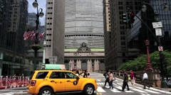 People and traffic in front of Grand Central Station NYC 3 Stock Footage