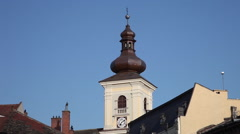 18th century Catholic church clock tower,early Baroque Vienna style,architecture Stock Footage