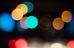 City at night - blurred photo and bokeh background Stock Photos