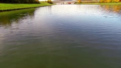 Stock Video Footage of flying low over calm river