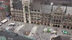 ULTRA HD 4K Aerial view of Marienplatz Mary's public square New town hall Munich Stock Footage