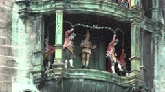 ULTRA HD 4K Closeup detail Glockenspiel statue New Town Hall tower Munich city  Stock Footage