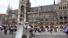 ULTRA HD 4K Tourist people visit Marienplatz tourism attraction Munich city old  Stock Footage