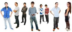 Group of teens full lenght, isolated on white Stock Photos