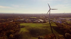 Stock Video Footage of aerial view of wind turbine in munich, germany