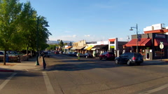 Traffic In Historic Downtown Cottonwood Arizona- Wide Stock Footage
