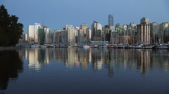 Twilight Vancouver Downtown, Coal Harbor Stock Footage