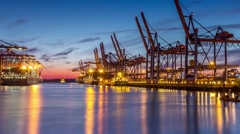 Container terminal timelapse Stock Footage