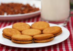double layer cream cookies with glass of milk - stock photo