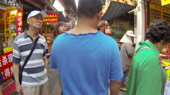 Glidecam Qibao Market Day front view 2 24 fps - stock footage