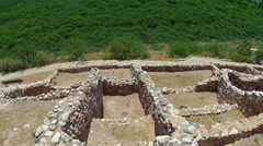 Section of Native American Indian Ruins- Tuzigoot National Monument - stock footage