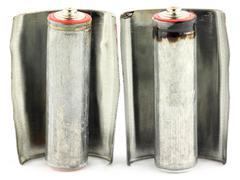 old alkaline batteries - stock photo