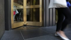 NYC B Roll - GE Building revolving doors Close up Stock Footage