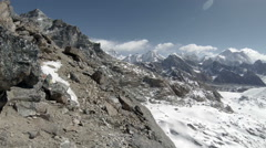 Movement of the clouds on the mountains Everest, Renjo Pass. Himalayas, Nepal. Stock Footage