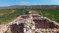 Top Level Tuzigoot National Monument Ruins With Ranger Station Stock Footage