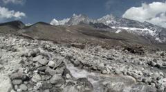 Mountain river. Melting glacier Ngozumpa, Himalayas, Nepal. Full HD Stock Footage