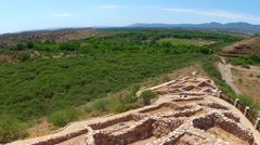 Ultra Wide Tuzigoot National Monument And Verde River Valley Stock Footage