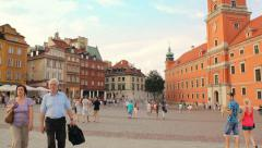 The Royal Castle and historical buildings in the Castle Square in Warsaw Stock Footage