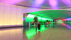 Detroit Airport light tunnel time lapse 3 30 pan - stock footage