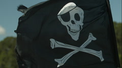 Stock Video Footage of Jolly Roger Skull and Crossbones Flag Waving in the Wind in Slow Motion 2
